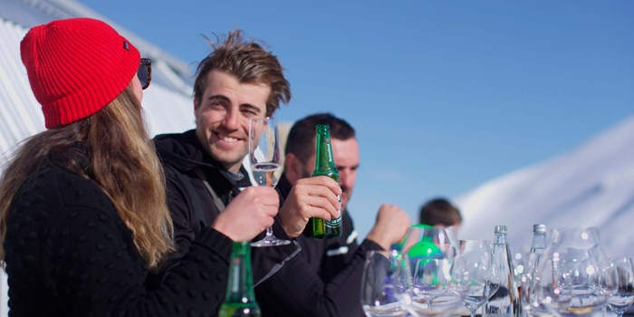 Group of skiers enjoys lunch at Soho Basin Cardrona